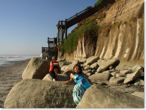 Grandview Encinitas beach stairs north of Beacons Stone Steps D Street Swamis & Cardiff Reef. Casandra Thomas and Perla Thomas.